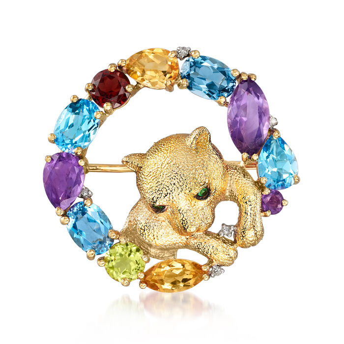 8.02 ct. t.w. Multi-Gem Cat Pin in 18kt Gold Over Sterling