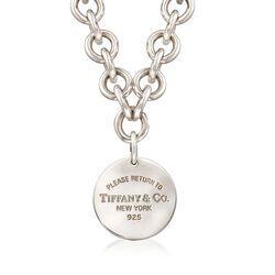 """C. 2000 Vintage Tiffany Jewelry """"Return to Tiffany"""" Sterling Silver Disc Charm Link Necklace. 15.75"""", , default"""