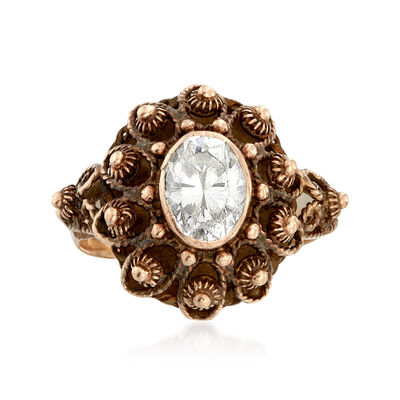 C. 1960 Vintage 1.25 Carat CZ Beaded Ring in 14kt Yellow Gold, , default