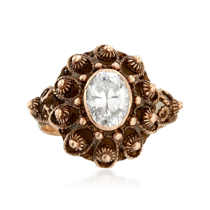 C. 1960 Vintage 1.25 Carat CZ Beaded Ring in 14kt Yellow Gold. Size 6, , default