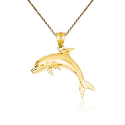 14kt Yellow Gold Dolphin Pendant Necklace, , default