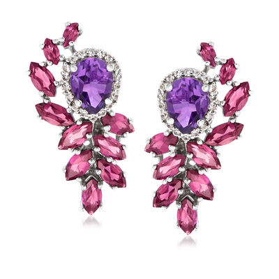 7.40 ct. t.w. Multi-Gem Drop Earrings in Sterling Silver