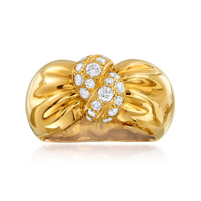 C. 1980 Vintage Vca .60 ct. t.w. Diamond Bow Ring in 18kt Yellow Gold, , default