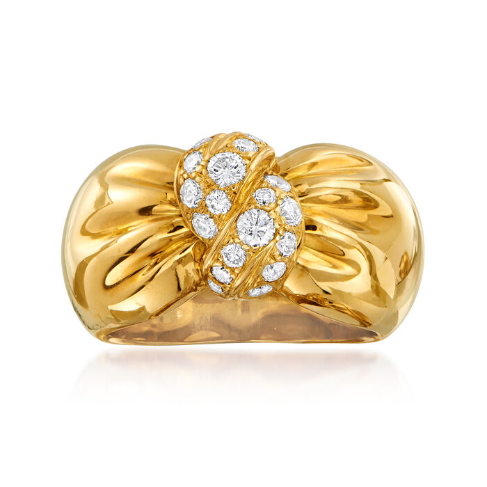 C. 1980 Vintage Vca .60 ct. t.w. Diamond Bow Ring in 18kt Yellow Gold. Size 7.5