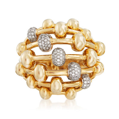 .46 ct. t.w. Diamond Beaded Dome Ring in 14kt Yellow Gold, , default
