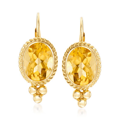 3.20 ct. t.w. Citrine Rope Edge Earrings in 14kt Yellow Gold, , default