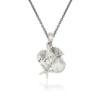 "14kt White Gold Shell Pendant Necklace. 18"", , default"