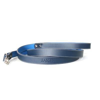 Royce Dark/Light Blue Leather Dog Leash, , default