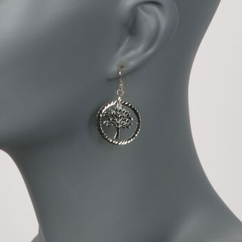 Sterling Silver Diamond-Cut and Polished Tree of Life Drop Earrings