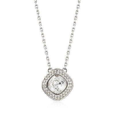 "Swarovski Crystal ""Latitude"" Clear Crystal Halo Necklace in Silvertone, , default"