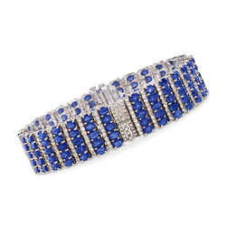 30.00 ct. t.w. Sapphire and 4.35 ct. t.w. Diamond Multi-Row Bracelet in 14kt White Gold, , default