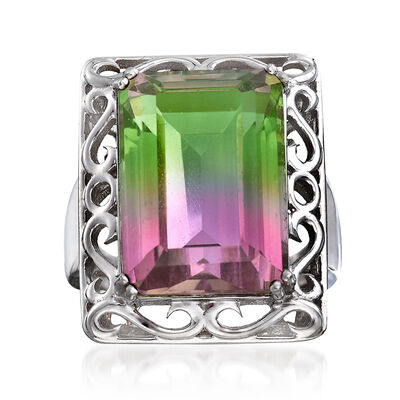 16.00 Carat Watermelon Quartz Triplet Ring in Sterling Silver, , default