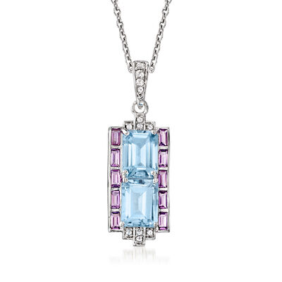 4.00 ct. t.w. Sky Blue Topaz and .50 ct. t.w. Amethyst Pendant Necklace with .10 ct. t.w. White Topaz in Sterling Silver