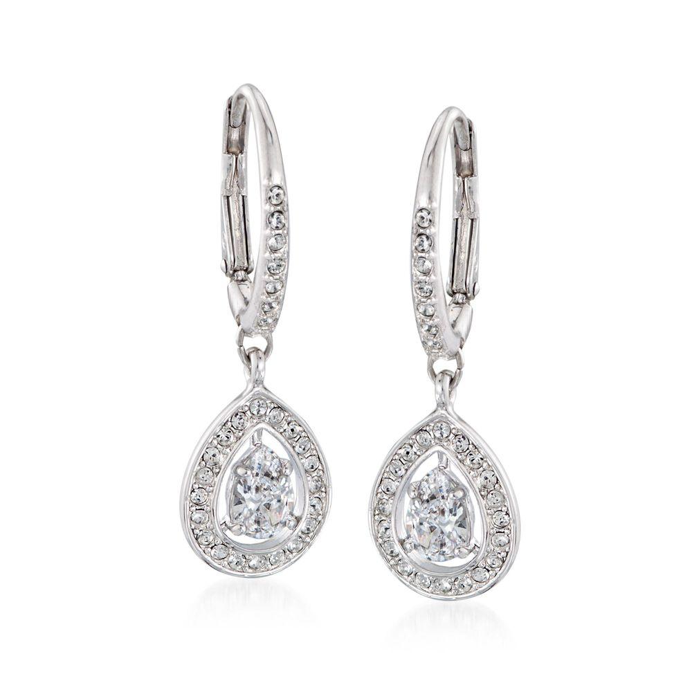 "13e4da0c4 Swarovski Crystal ""Attract"" Crystal Pear-Shaped Drop Earrings in  Silvertone, ,"
