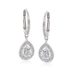 "Swarovski Crystal ""Attract"" Crystal Pear-Shaped Drop Earrings in Silvertone, , default"