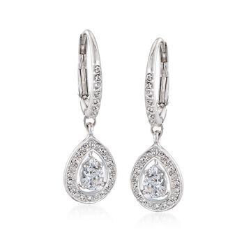 "Swarovski Crystal ""Attract"" Crystal Pear-Shaped Drop Earrings in Silvertone, , default"