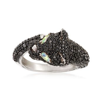 3.20 ct. t.w. Pave Black Spinel and Opal Panther Ring in Sterling Silver, , default