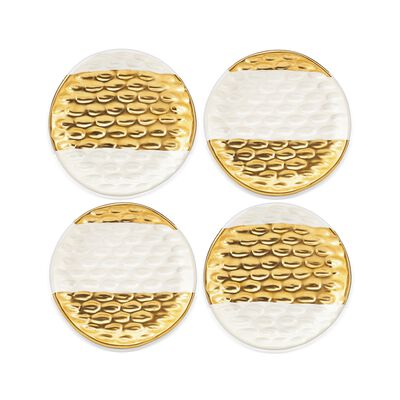 "Michael Wainwright ""Truro"" 4-pc. Stoneware Canape Plate Set with 24kt Gold, , default"