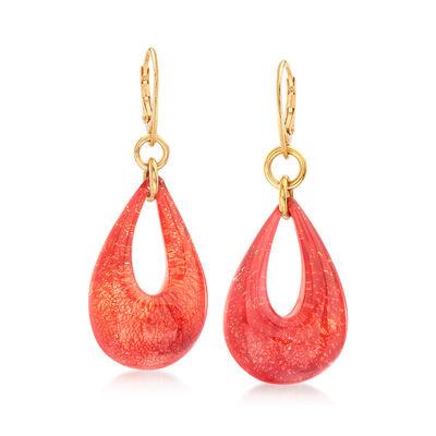 Italian Murano Glass Teardrop Earrings in 18kt Gold Over Sterling, , default