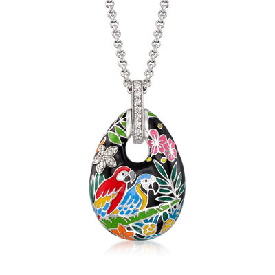 "Belle Etoile ""Macaw"" Multicolored Enamel and .35 ct. t.w. CZ Pendant in Sterling Silver, , default"