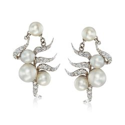C. 1950 Vintage 6.5-8.5mm Cultured Pearl and .75 ct. t.w. Diamond Drop Earrings in 14kt White Gold, , default