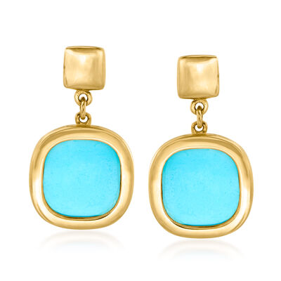 Italian Small Turquoise Drop Earrings in 14kt Yellow Gold
