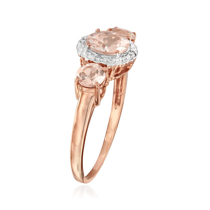 1.25 ct. t.w. Morganite Ring with Diamond Accents in 14kt Two-Tone Gold