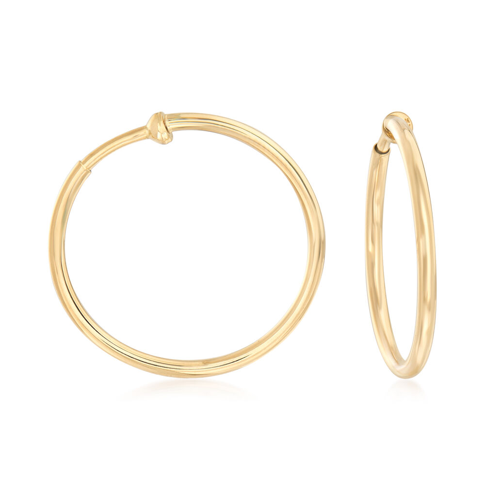 14kt Yellow Gold Large Clip On Hoop Earrings