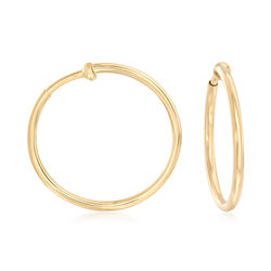 "14kt Yellow Gold Large Clip-On Hoop Earrings. 1"", , default"