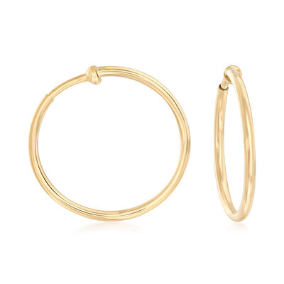 14kt Yellow Gold Large Clip-On Hoop Earrings, , default