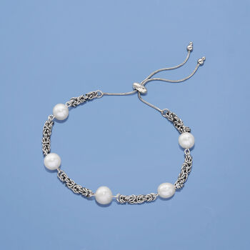Cultured Pearl Byzantine Link Bolo Bracelet in Sterling Silver, , default