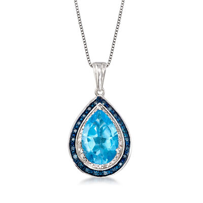 4.20 Carat Blue Topaz and .19 ct. t.w. Diamond Pendant Necklace in Sterling Silver, , default
