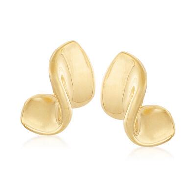 Italian Andiamo 14kt Yellow Gold Ribbon Earrings , , default