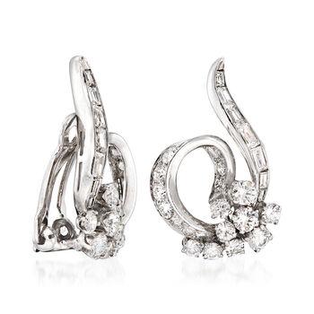 C. 1950 Vintage 2.40 ct. t.w. Diamond Swirl Clip-On Earrings in Platinum , , default