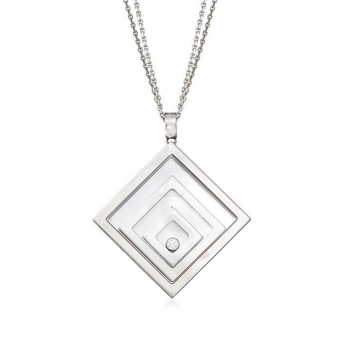 "C. 1990 Vintage Chopard ""Happy Floating Triple Square"" Pendant Necklace in 18kt White Gold. 24"", , default"