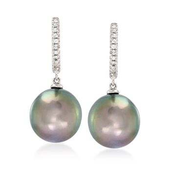 10-11mm Black Cultured Tahitian Pearl and .11 ct. t.w. Diamond Drop Earrings in 14kt White Gold, , default