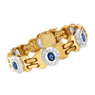 C. 1980 Vintage 5.90 ct. t.w. Sapphire and 1.75 ct. t.w. Diamond Bracelet in 18kt Two-Tone Gold