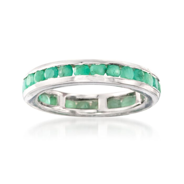 1.60 ct. t.w. Channel-Set Emerald Eternity Band in Sterling Silver