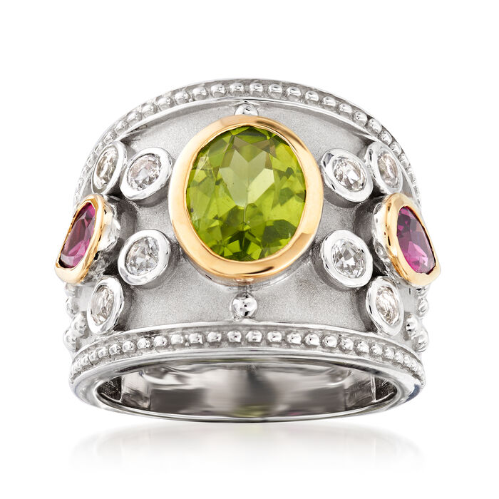4.20 ct. t.w. Multi-Gemstone Ring in Sterling Silver and 14kt Yellow Gold, , default