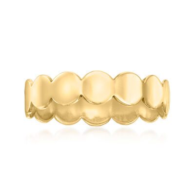 Italian 14kt Yellow Gold Scalloped-Edged Circle Ring