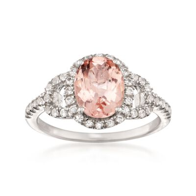 1.70 Carat Morganite and .50 ct. t.w. CZ Ring in Sterling Silver
