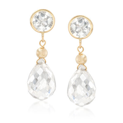 Round and Teardrop Crystal Drop Earrings in 14kt Yellow Gold, , default