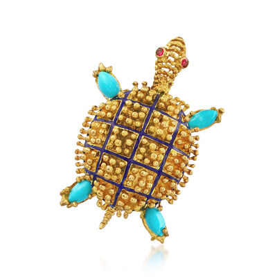 C. 1970 Vintage 18kt Yellow Gold and Turquoise Turtle Pin, , default