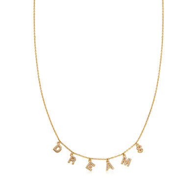 ".41 ct. t.w. CZ ""Dreams"" Charm Necklace in 18kt Gold Over Sterling"