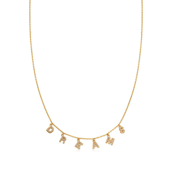 """.41 ct. t.w. CZ """"Dreams"""" Charm Necklace in 18kt Gold Over Sterling"""