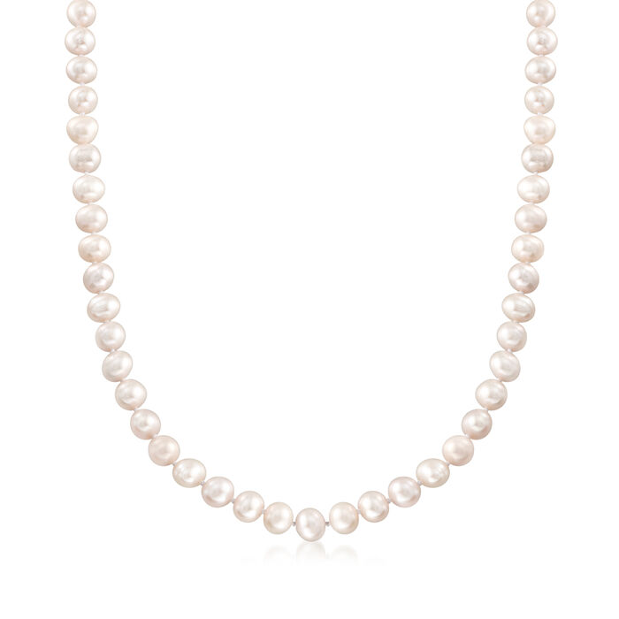 6-7mm Cultured Pearl Necklace with Sterling Silver, , default