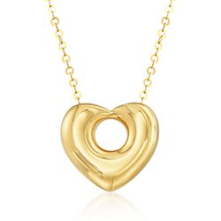 "Italian 18kt Yellow Gold Pierced Heart Necklace. 20"", , default"