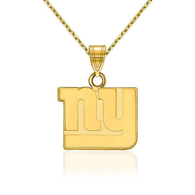 14kt Yellow Gold NFL New York Giants Pendant Necklace. 18""