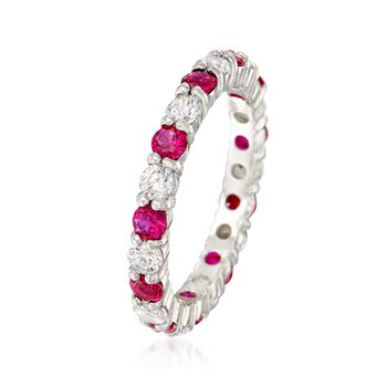Simulated Ruby and .80 ct. t.w. CZ Eternity Band in Sterling Silver, , default