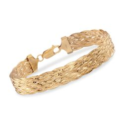 "Italian 18kt Yellow Gold Over Sterling Silver Braided Herringbone Bracelet. 7.5"", , default"